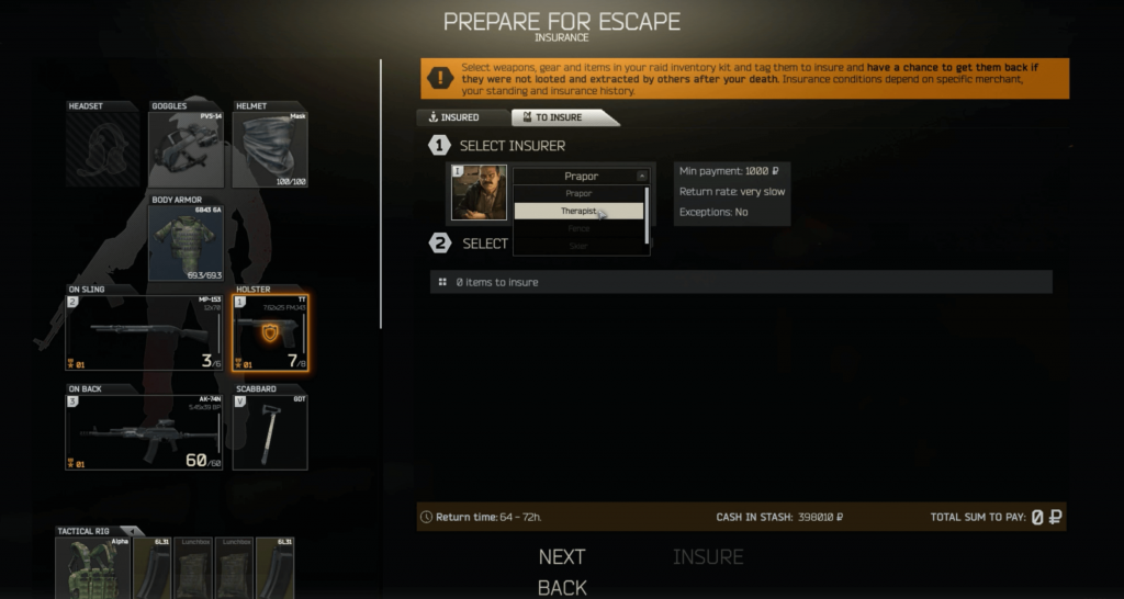 Top 10 Tips for Escape from Tarkov - Use Gear Insurance